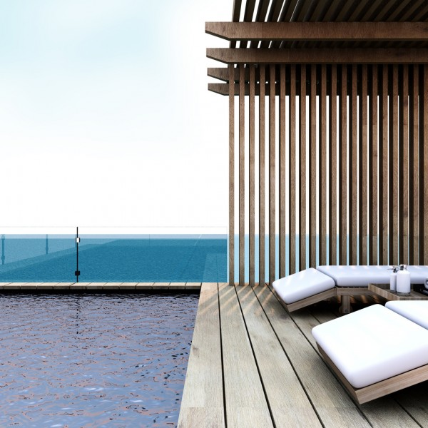 Beach lounge - Sundeck on Sea view for vacation and summer - 3d render